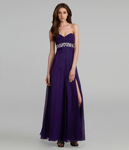 JS Collections Beads Strapless Chiffon Gown Sz 12 Purple - $107.20