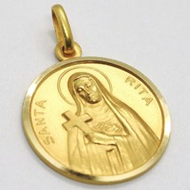 SOLID 18K YELLOW GOLD HOLY ST SAINT SANTA RITA ROUND MEDAL MADE IN ITALY, 17 MM image 2