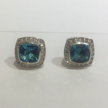 David Yurman Petite Albion Blue Topaz Diamond Earrings - $720.00