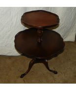 Carved Mahogany 2 Tier Dumbwaiter Table by Mersman / Pie Crust Tops  (T314) - $395.01