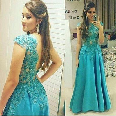 blue Prom Dresses,long prom dresses,cap sleeves prom Dress,A-line prom dresses