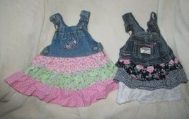 Oshkosh B'Gosh Vestbak Set Lot Baby Girl Skirted Denim Jean Jumper Dress... - $22.76