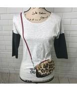 Jessica Simpson Top Faux Leather Cheetah Print Fur Purse Pocket Girls La... - $11.83