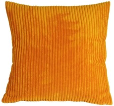 Pillow Decor - Wide Wale Corduroy 22x22 Light Orange Throw Pillow image 1