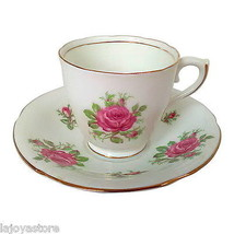 Vanderwood Genuine Bone China England Cup & Saucer Set White Pink Rose G... - $17.95
