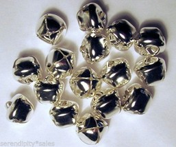 "Lot 25 Large Shiny Silver Jingle Bells ~ 20mm (3/4"") ~ Metal Craft Holiday Bells - $4.94"