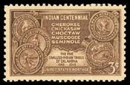 1948 3c Indian Centennial, Five Tribes of Oklahoma, 100th Scott 972 Mint... - $0.99