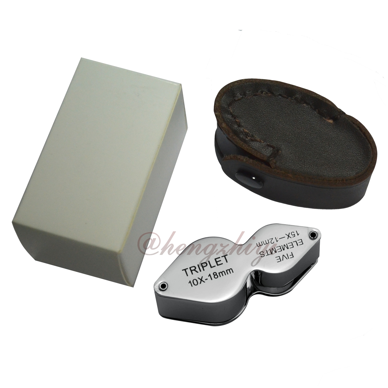 2-In-1 10X 18mm+15X 12mm Jewelry Gem Triplet Loupe Magnifier Lens w Leather Case