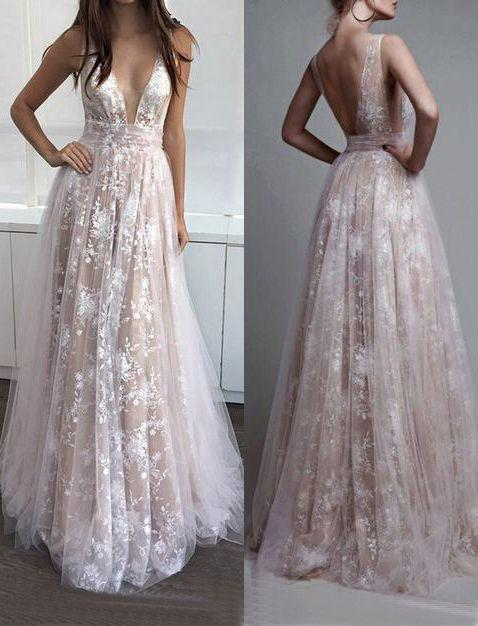 lace prom dress, long prom dress, v-neck prom dress, 2018 evening dresses