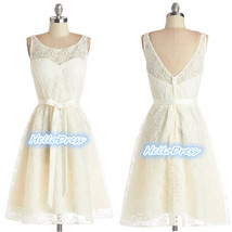 Short Scoop V Back Zipper Ivory Lace Bridesmaid Wedding Gown Dresses wit... - $98.00