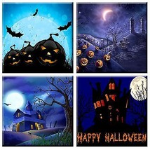 coffee Set of 4 Decorative ceramic tile coaster Halloween  themed - $19.00