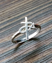 Ring - Blessing and Hope - Cross ichthys Fish Symbol - 925 Sterling Silver  - $48.00
