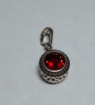 beautiful ruby red topaz enhancer pendant,sterling silver - $69.25