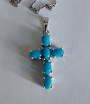 beautiful sleeping beauty turquoise cross pendant and chain - $178.15