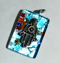 Murano Glass Hamsa Amulet Good Luck Charm Judai... - $9.99