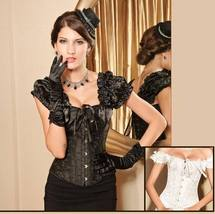 Renassiance Brocade Cap Sleeved Goth Corset Lace Up Back Strong Cord Ste... - $48.95