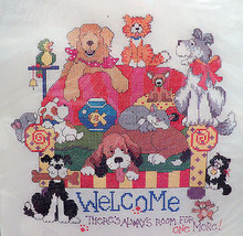 Bucilla Counted Cross Stitch Kit Room For One More Linda Gillum 42855 Dogs Cats - $59.99