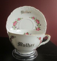 Lefton Japan Large Breakfast Tea Cup & Saucer Pink Roses 'mother' Gilt C 1960's! - $19.79