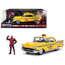 1957 Chevrolet Bel Air Taxi Yellow with Deadpool Diecast Figure Marvel S... - $49.84