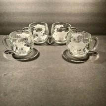 Set of 4 Vintage Nestle Nescafe Etched Clear Glass World Globe Coffee Mu... - $20.53