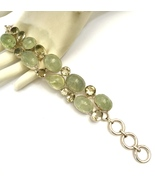 Handmade Moss Prehnite and Lemon Topaz 925 Ster... - $92.80