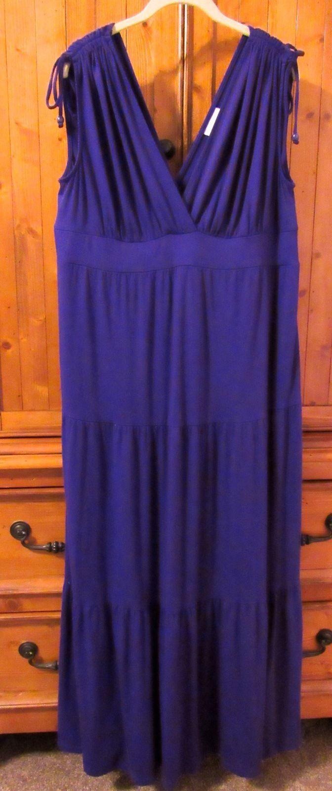 Liz Lange Maternity Solid Purple V-Neck Peasant Styled Maxi Dress Sleeveless L