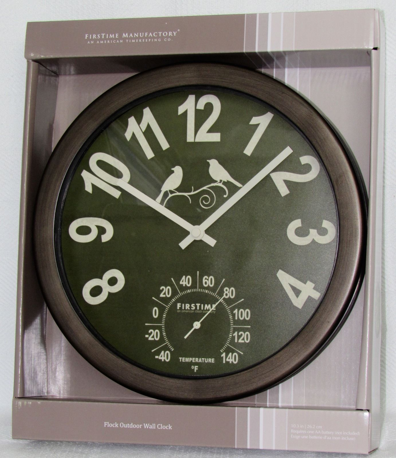 """FirsTime 10.3"""" Flock Outdoor Wall Clock Battery Powered Oil Rubbed Bronze Finish"""