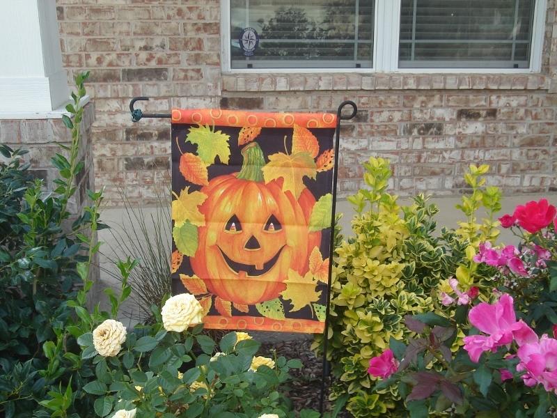 Pumpkin Garden Flag by Hummingbird Haven