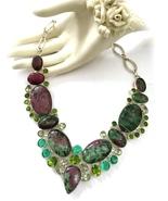 Handmade Rare Ruby Ziosite, Peridot,Prasiolite ... - $96.00