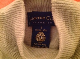 Vintage Charter Club 100% Merino Wool Mock Sweater Ladies S Mint Green NWT - $19.33