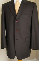 Neiman Marcus Blazer Wool 42L Brown Pinstripes 3 Buttons Sport Jacket Co... - $69.98
