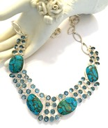 Handmade Turquoise and Blue Topaz 925 Sterling ... - $92.80
