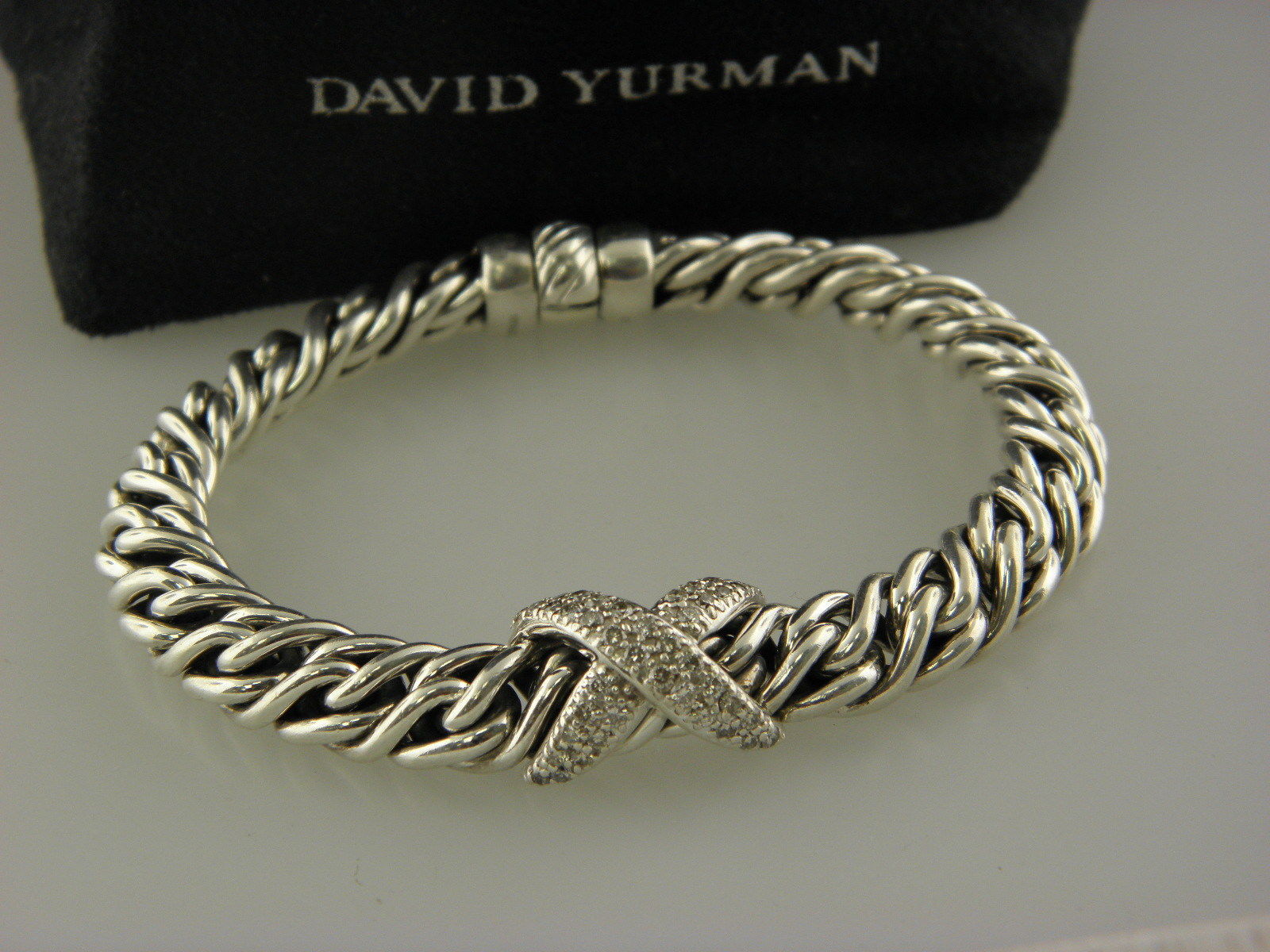 DAVID YURMAN Sterling Silver and Diamond `X` Wheat Chain Bracelet 7.5