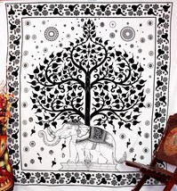 Good Luck White and Black Elephant Mandala Tapestry Wall Hangings - $25.00