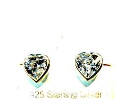 "Silver Heart Earrings White Cz Screw Back 5mm ""On  Sale This Week"" - $16.65"