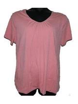 Womens Merona Pink Short Sleeve V Neck Cotton Blend Shirt Top sz 3 Plus - $14.25