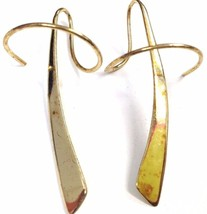"Sterling Silver GOLD plated Modernist Abstract dangle 1 3/4"" long earrings 925 - $30.58"