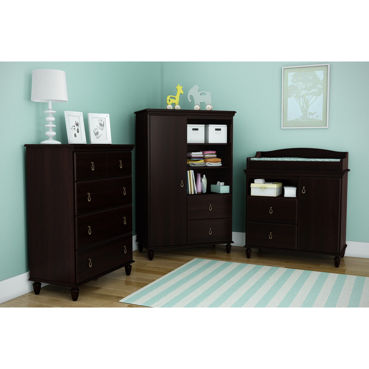Kids Armoire Wardrobe Bedroom Storage Cabinets Wood ...
