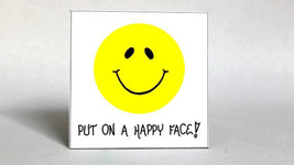 Happy, Inspiration Quote, Smiley Face Magnet - $3.95