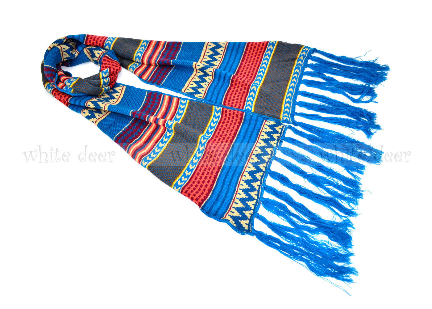 "Primary image for 90"" Bohemian Style Pattern Long Blue Woven Scarf Fringe Tear Drop Geometric"