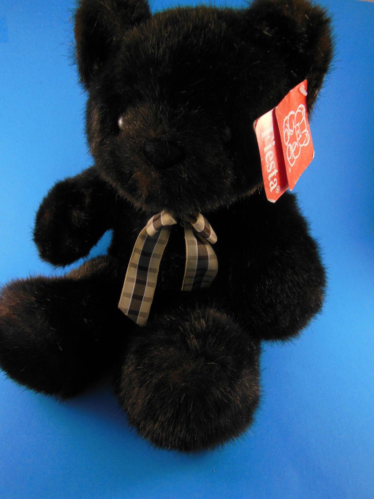 "Teddy Bear 15"" Mint w Wrinkled Tag Fiesta 1998 Beautiful Rich dark sable brown - $16.57"