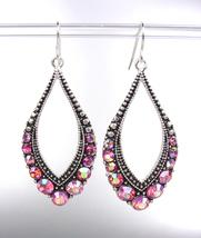 SPARKLE Antique Silver Pink Iridescent AB CZ Crystals Tear Drop Dangle E... - $12.99