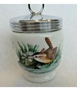 White milk glass jar, silver plated lid, bird design, Worchester England... - $15.00