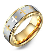 Men's 14k Yellow Gold Plated Two Tone Tungsten Wedding Band Ring w/ Cros... - $59.99