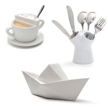 Home White Ceramix  Set 3 Lot Designer Gifts Table Party Cutlery Napkin ... - $124.00