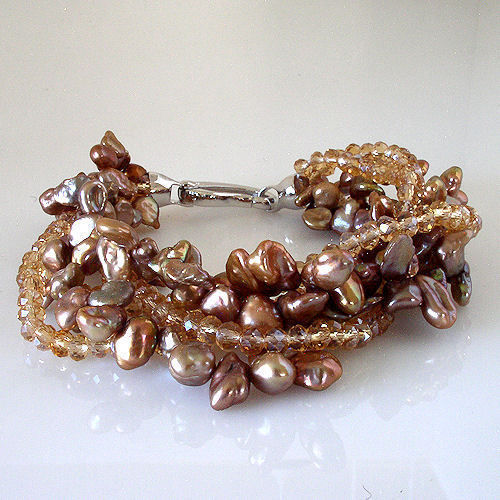 """New 6 Multi-Strand Shades Of Chocolate Freshwater Pearl and Bead Bracelet 7.5"""""""