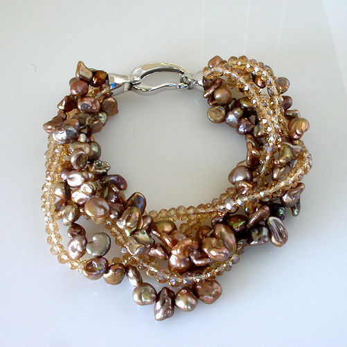 """New 6 Multi-Strand Shades Of Chocolate Freshwater Pearl and Bead Bracelet 7.5"""" image 2"""