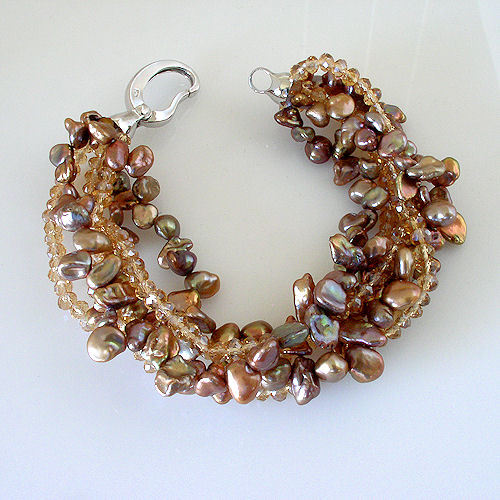 """New 6 Multi-Strand Shades Of Chocolate Freshwater Pearl and Bead Bracelet 7.5"""" image 5"""