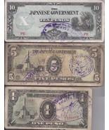 JAPANESE OCCUPATION PHILIPPINE Peso 10, 5, 1 Paper Money - $7.95