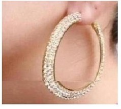2 Row Gold Tone Crystals Rhinestones Hoop Earrings 50mm- #2 - $16.00